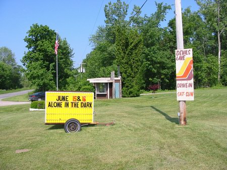 Devils Lake Drive-In Theatre - SIGN AND TICKET BOOTH - PHOTO FROM WATER WINTER WONDERLAND