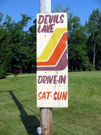 Devils Lake Drive-In Theatre - SIGN - PHOTO FROM WATER WINTER WONDERLAND