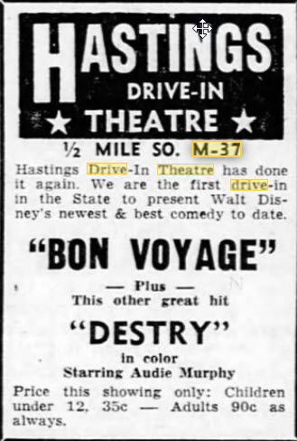 Hastings Drive-In Theatre - 28 JUL 1962 AD