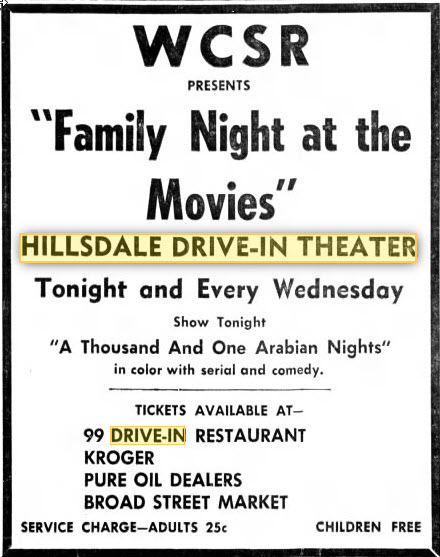 Hillsdale Drive-In Theatre - MAY 28 1963 AD