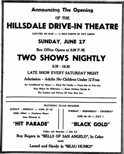 Hillsdale Drive-In Theatre - AD FROM ANDREW THE LIBRARIAN