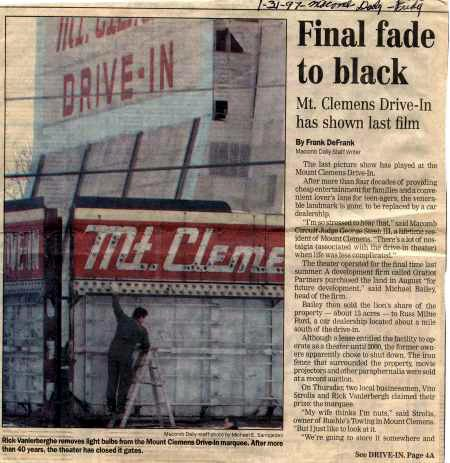 Mt Clemens Drive-In Theatre - NEWSPAPER - PHOTO FROM RG