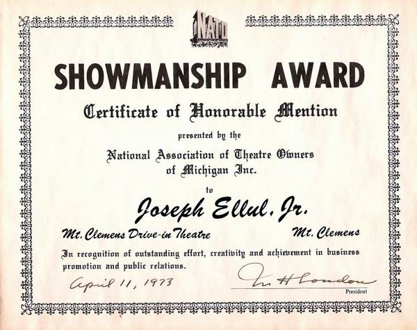 Mt Clemens Drive-In Theatre - SHOWMANSHIP AWARD COURTESY JOE ELLUL JR