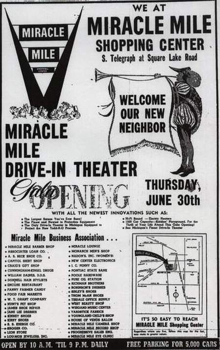 Miracle Mile Drive-In Theatre - GRAND OPENING AD JUNE 30 1960
