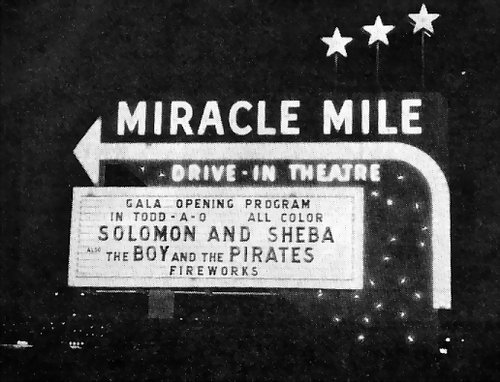 Miracle Mile Drive-In Theatre - MARQUEE AT NIGHT