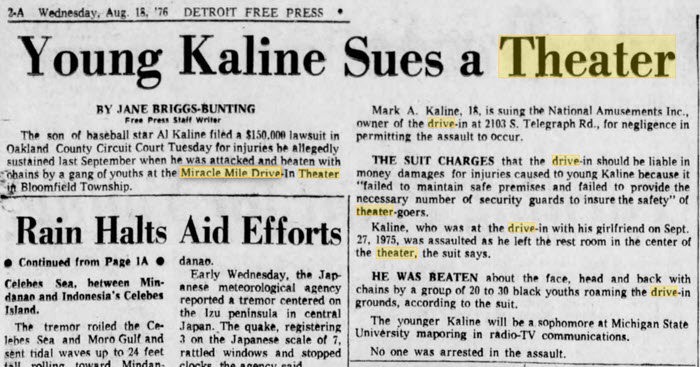 Miracle Mile Drive-In Theatre - AL KALINE SON LAWSUIT AUGUST 1976