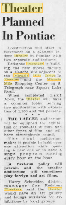 Miracle Mile Drive-In Theatre - SHOWCASE CINEMAS ANNOUNCED SEPT 1963