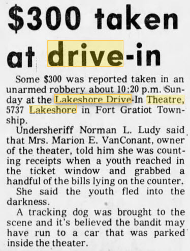 Lakeshore Drive-In Theatre - 10 SEP 1973 ARTICLE ON ROBBERY