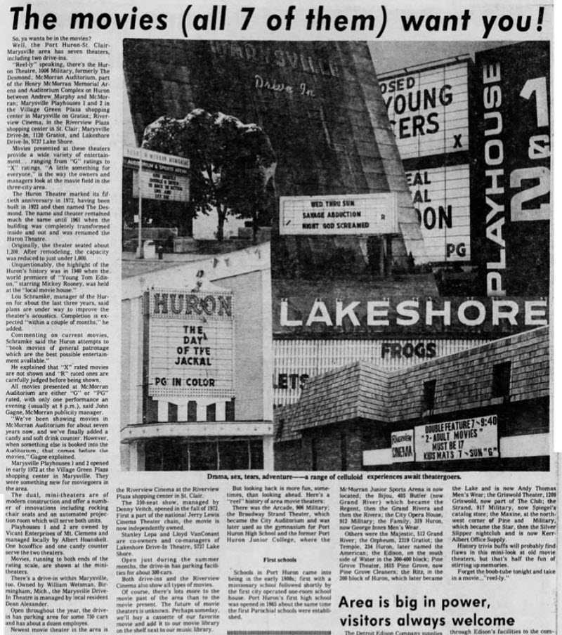 Lakeshore Drive-In Theatre - OCT 21 1973 ARTICLE