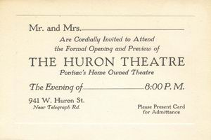 Huron Theatre - GRAND OPENING FROM KEN MARTIN