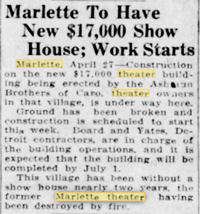 Liberty Theater - APRIL 1936 ARTICLE MENTIONING LIBERTY THEATER BEING DESTROYED BY FIRE