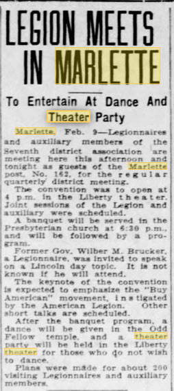 Liberty Theater - FEB 9 1933 ARTICLE MENTIONING THEATER